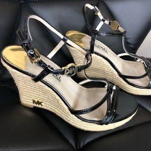 Michael Kors Black Platform Wicker Sandals